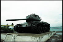 <i>Bash On Regardless</i>, an Indian Army Tank that caused great damage to the opposition in the 1971 India-Pakistan War, gifted to the city of Hyderabad, Andhra Pradesh