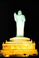 Buddha statue on pedestal, Hyderabad, Andhra Pradesh