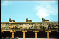 Nandi decorations on the wall, Shaneeshwara Temple, Tamil Nadu