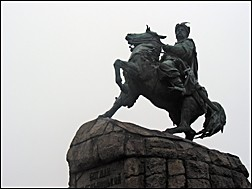 Statue of Ukrainian warrior on a horse, Golden Gate, Kiev, Ukraine