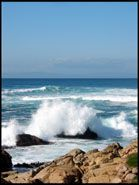 Waves crashing onto the rocky shore, 17 mile drive, Monterey