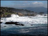 Waves pounding the rocky Monterey coastline, 17 mile drive
