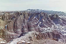 View of the desolate landscape from the Loop Road, Badlands National Park