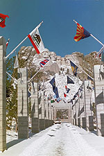 Entrance to Mt. Rushmore with the flags of all 50 states