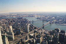 View of New York City Bridges from atop the World Trade Center