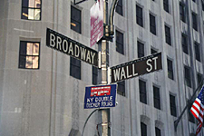 The intersection on Wall Street and Broadway, New York City
