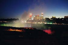 Night lights at Horseshoe Falls, Canadian side of Niagara Falls