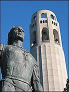 Coit Tower and the Statue of Columbus