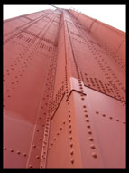 Closeup view of the rivets in the Golden Gate Bridge
