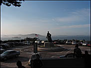 View from the base of Coit Tower, Alcatraz in the distance
