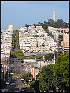 View of Coit Tower from the base of Lombard Street, San Francisco