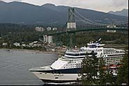 Cruise Ship under Lions Gate Bridge, Vancouver, British Columbia, Canada