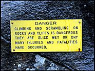 Warning, Bridal Veil Falls, Yosemite National Park