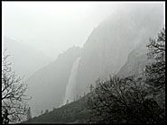 Yosemite Falls through the fog, Yosemite National Park