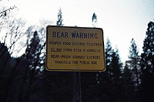 Sign warning against bears, Yosemite National Park