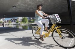 Kären Haley, executive director of Indianapolis Cultural Trail Inc., and head of the Pacers Bikeshare program. IU Health BikeShare on September 13, 2016. (Matthew Dial / Indiana University Health Visual Media)