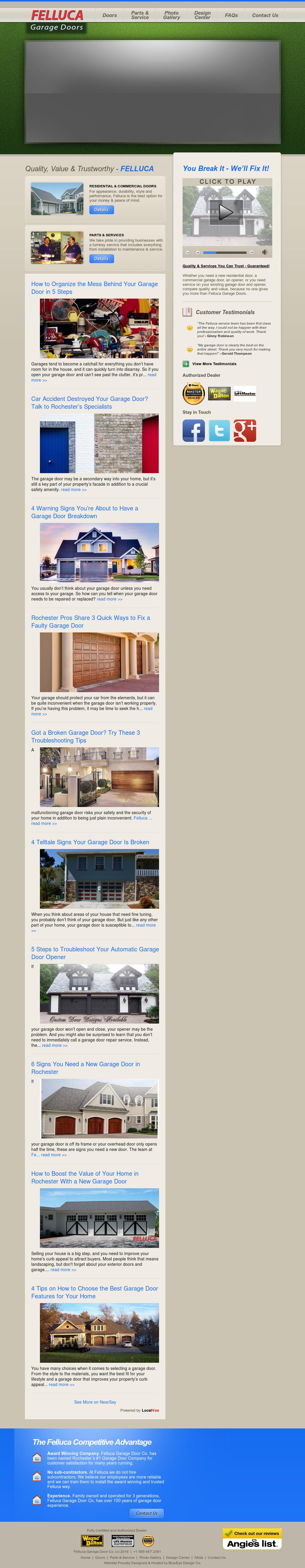 Felluca Garage Doors Website History