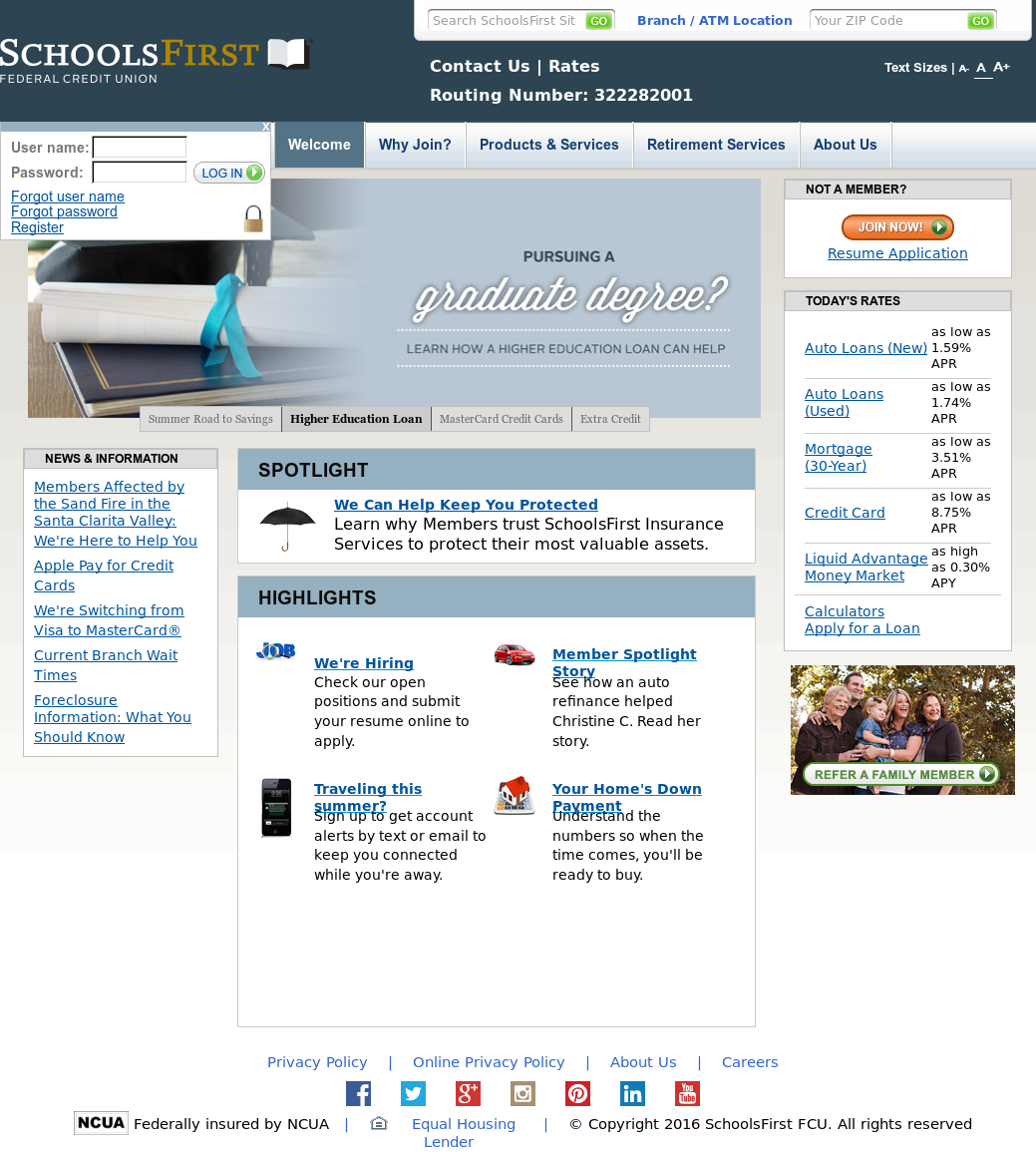 SchoolsFirst Federal Credit Union website history