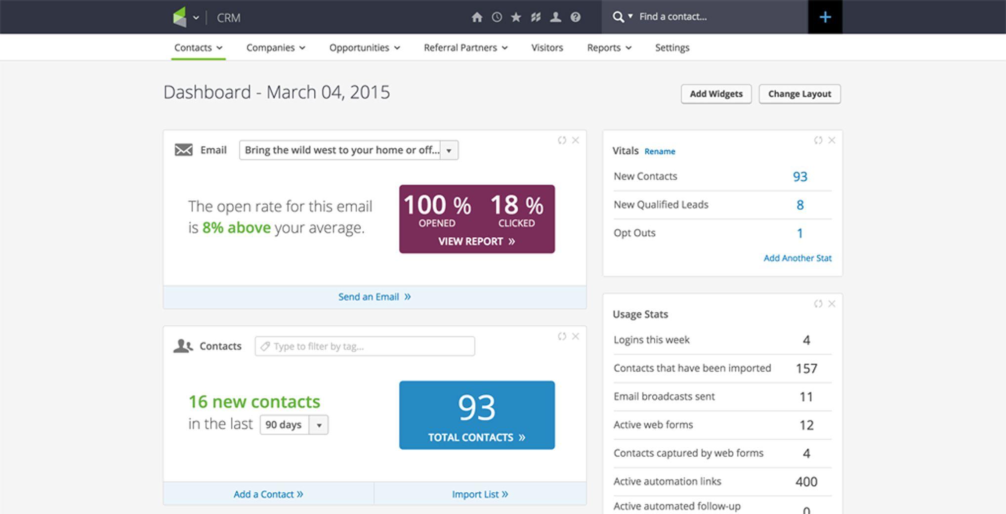 Infusionsoft application reports screenshot