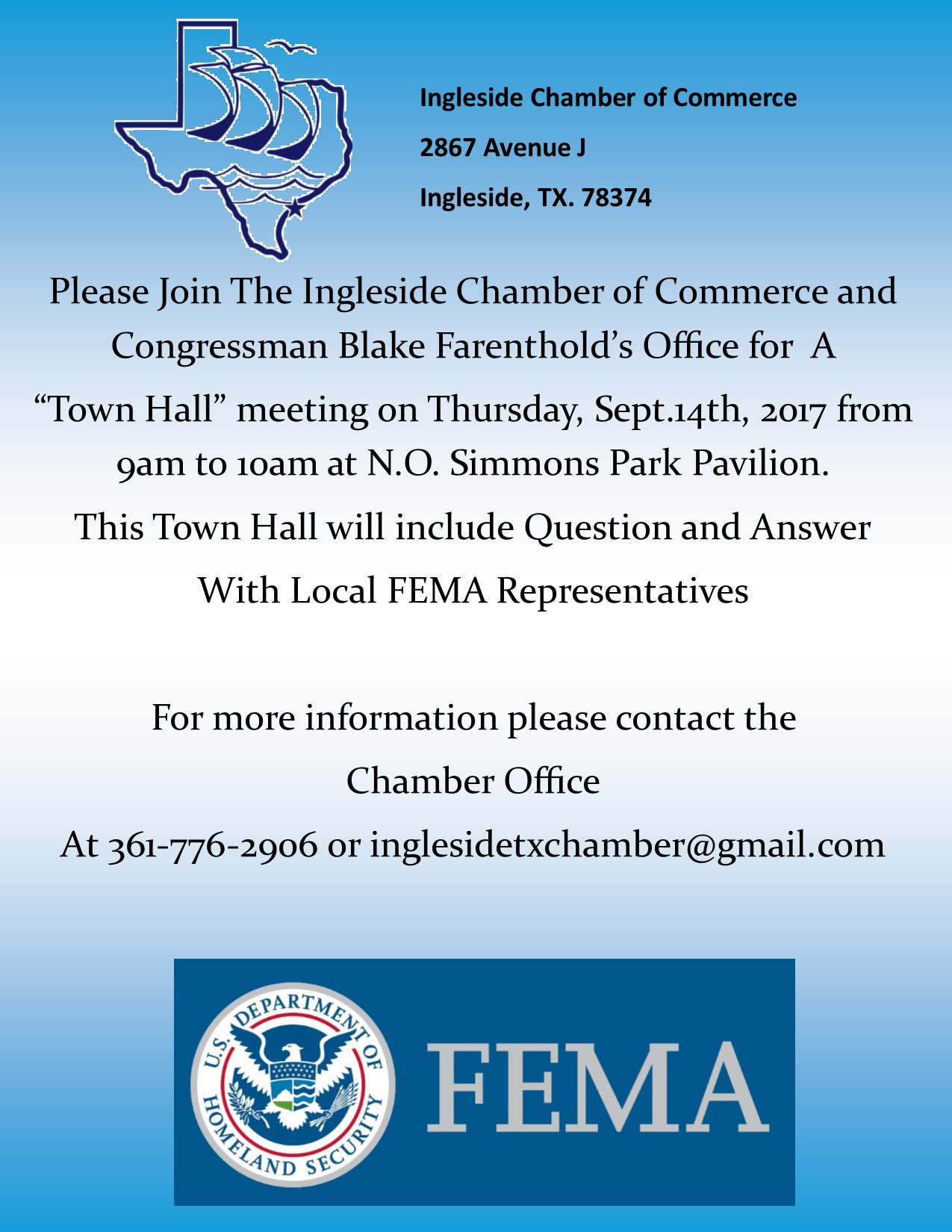 town hall meeting September 14 9 a.m. at N.O. Simmons park