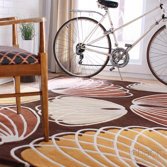 Lotus in Chocolate & Persimmon Wool Area Rug