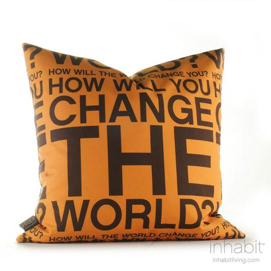 Change the World in Orange and Chocolate Pillow