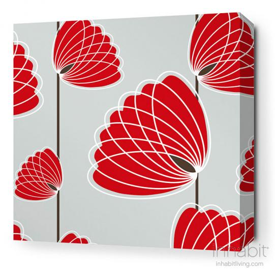 Lotus in Silver and Scarlet Stretched Wall Art