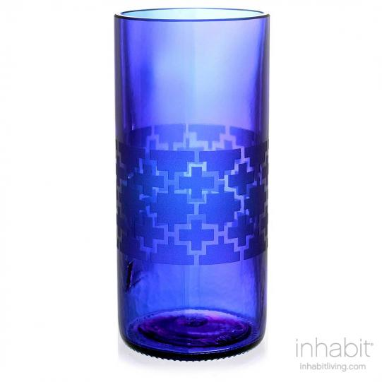 Plus Blue Drinking Glass