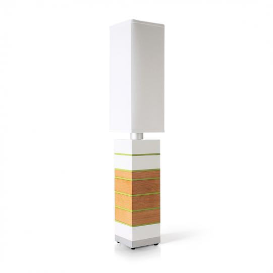 Even Steven in White, Oak & Green Table Lamp