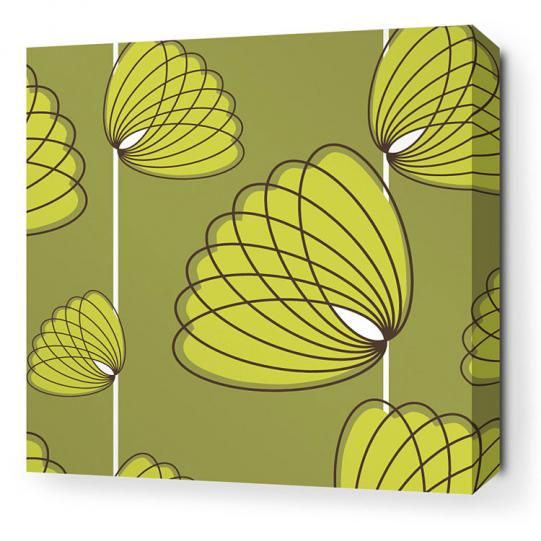 Lotus in Grass and Lime Stretched Wall Art