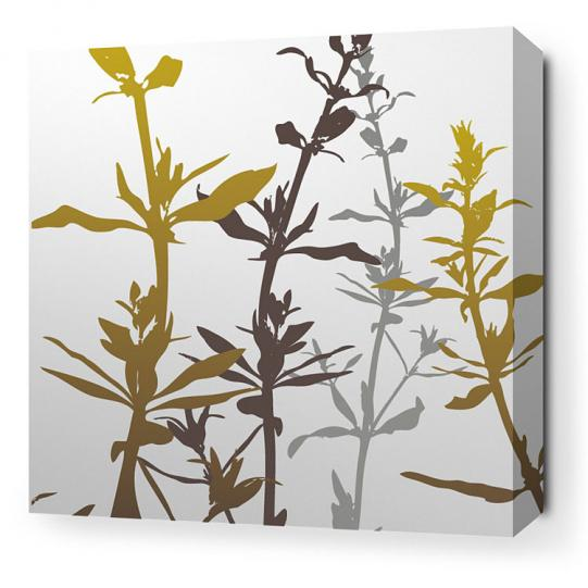 Wildflower in Silver and Olive Stretched Wall Art