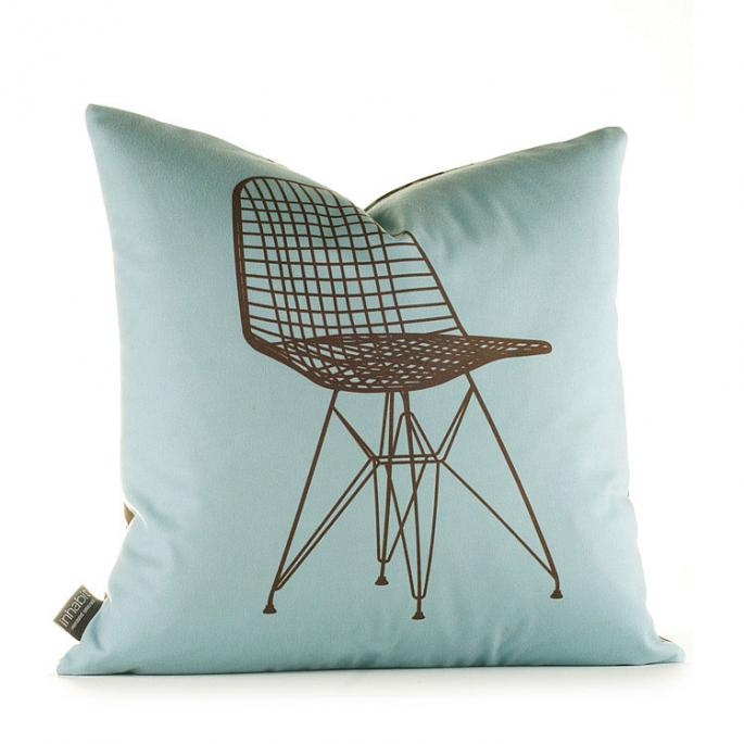 1951 in Cornflower and Chocolate Pillow