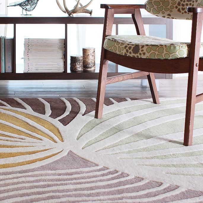 Leaf in Natural & Apricot Wool Area Rug