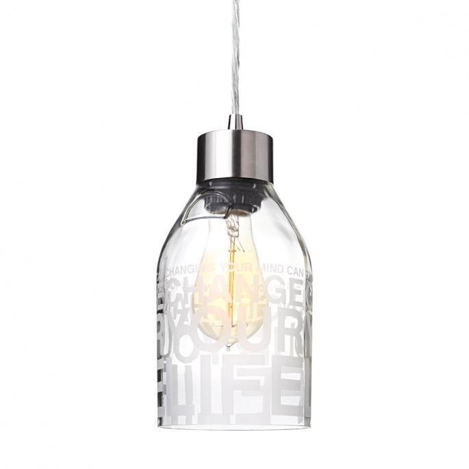 Change Your Life in Clear Reclaimed Bottle Pendant Light