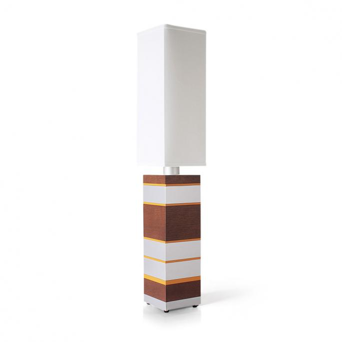 Even Steven in Walnut, Silver & Orange Table Lamp