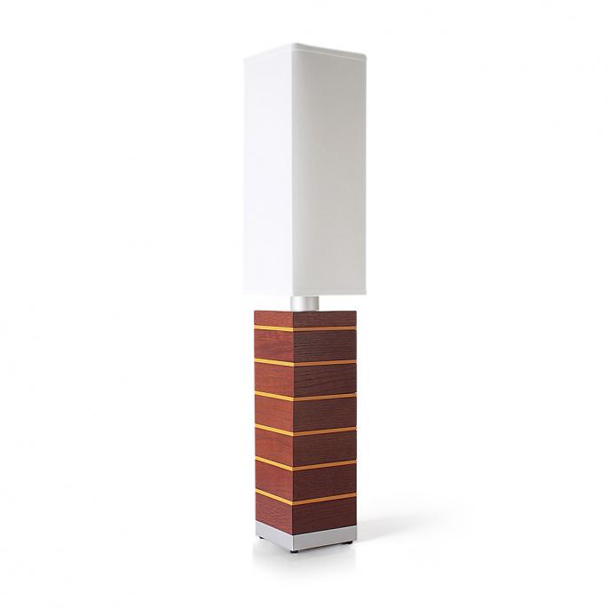 Even Steven in Red Oak & Orange Table Lamp