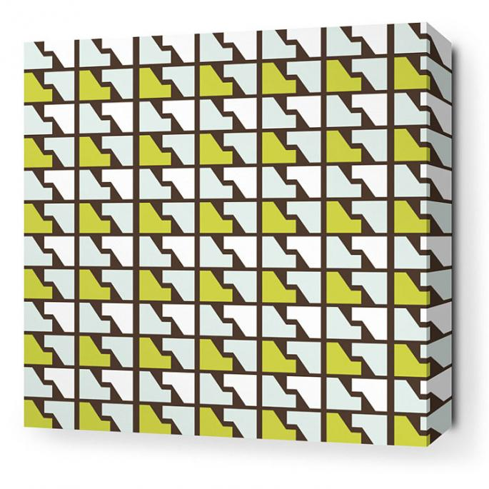 Faux Houndstooth in Grass Stretched Wall Art
