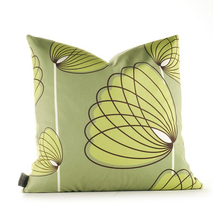 Lotus in Grass and Lime Pillow