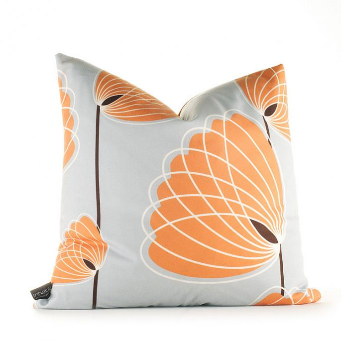 Lotus in Silver and Sunshine Pillow