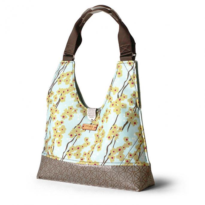 Reagan Flowering Pyrus in Cornflower Handbag