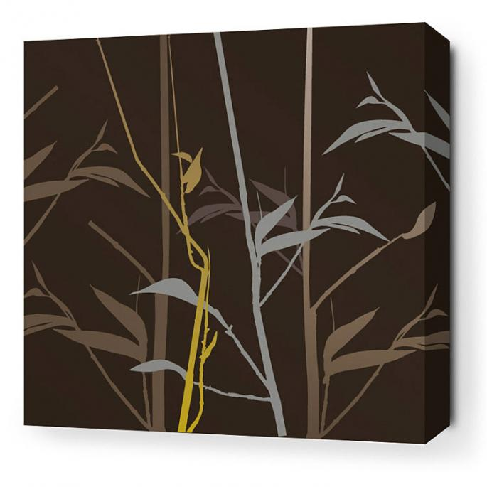 Tall Grass in Charcoal and Olive Stretched Wall Art