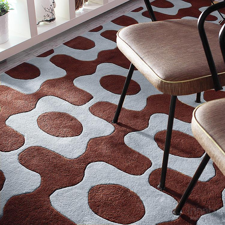 Laugh in Chocolate & Cornflower Hand-Tufted Wool Rug