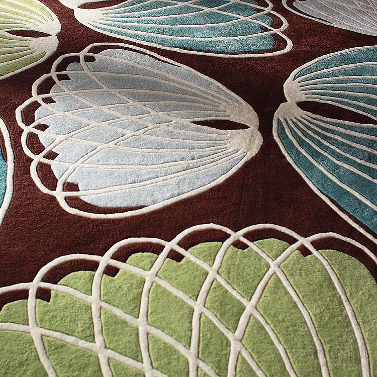 Lotus in Chocolate & Cornflower Hand-Tufted Wool Rug