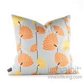 Floating Lotus in Silver and Sunshine Pillow
