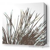 Thatch in Aqua Stretched Wall Art
