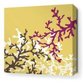 Coral in Plum Stretched Wall Art