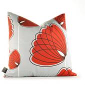 Lotus in Silver and Scarlet Pillow