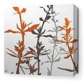 Wildflower in Silver and Rust Stretched Wall Art