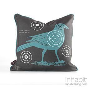 Crow Bullseye in Cornflower Pillow
