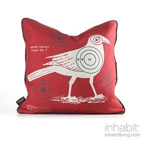 Crow Bullseye in Scarlet Pillow